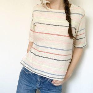 NWT Anthro postmark cream rainbow striped top xs